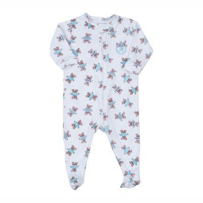 Macacão bebê com ziper ursinho - Branco e azul bebê