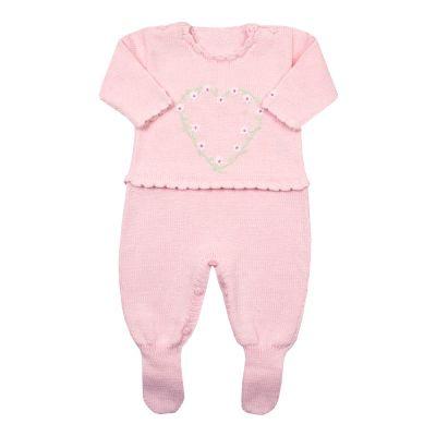 Macacão bebê coração - Rosa bebê