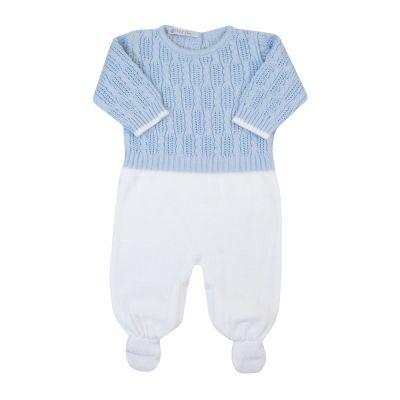 Macacão bebê corda - Azul bebê e branco