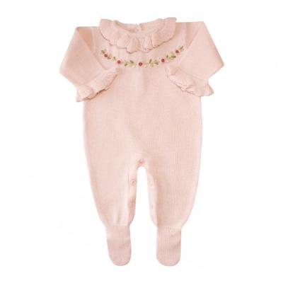Macacão bebê cordão flores - Rosa bebê