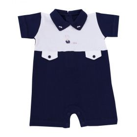 Macacão bebê curto - Azul marinho