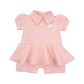Macacão bebê curto com babado - Rosa