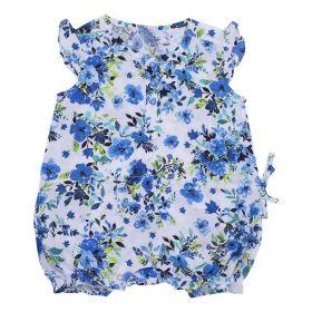 Macacão bebê curto floral - Branco/Azul