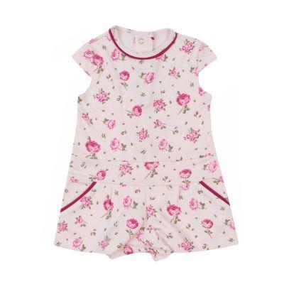 Macacão bebê curto floral - Rosa bebê