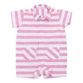 Macacão bebê curto listras - Branco e rosa