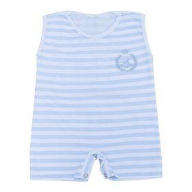 Macacão bebê curto masculino listrado - Branco/Azul bebê