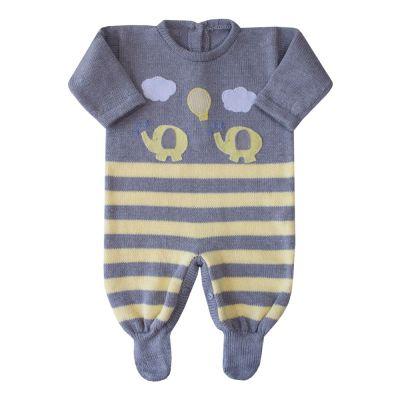 Macacão bebê elefante - Cinza e amarelo