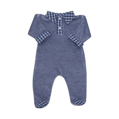 Macacão bebê em plush masculino - Jeans