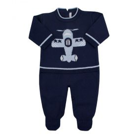 Macacão bebê em tricot avião - Azul marinho