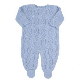 Macacão bebê em tricot - Azul bebê