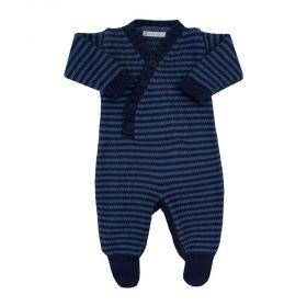 Macacão bebê em tricot - Azul marinho