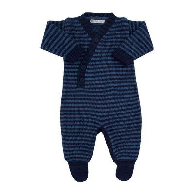 Saída de maternidade masculina macacão listrado - Azul marinho