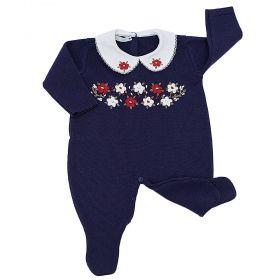 Macacão bebê em tricot bordado com flores - Azul marinho