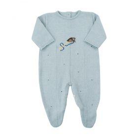 Macacão bebê em tricot cavalinho - Azul bebê