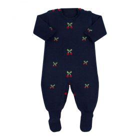 Macacão bebê em tricot cerejinhas - Azul marinho