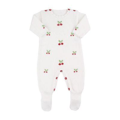 Macacão bebê cerejinhas - Branco