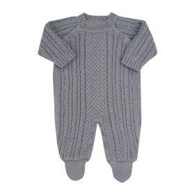 Macacão bebê em tricot - Cinza