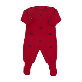 Macacão bebê em tricot laços - Vermelho