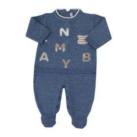 Saída de maternidade masculina macacão letras - Jeans