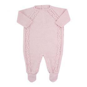 Macacão bebê em tricot - Rosa pó