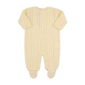 Macacão bebê em tricot unissex - Amarelo