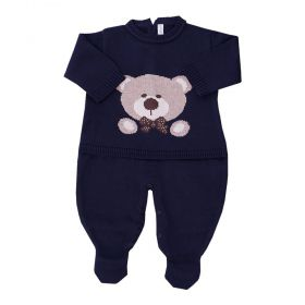 Macacão bebê em tricot urso - Azul profundo