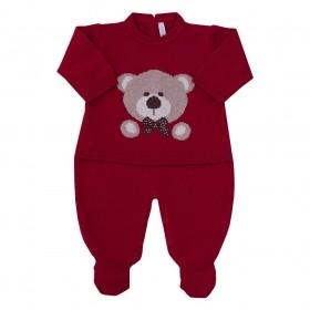 Macacão bebê em tricot urso - Vermelho