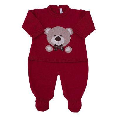Macacão bebê urso jacquard - Vermelho