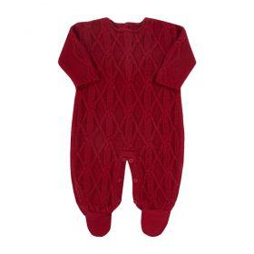 Macacão bebê em tricot - Vermelho