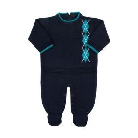 Macacão bebê escocês - Azul profundo