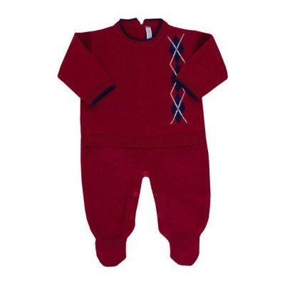 Saída de maternidade masculina macacão escocês - Vermelho