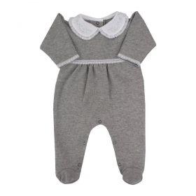 Macacão bebê feminino bordado - Cinza
