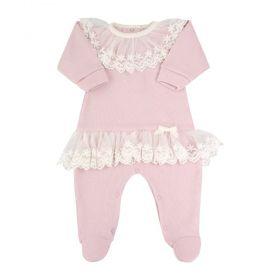 Macacão bebê feminino com tule bordado - Rosa pó