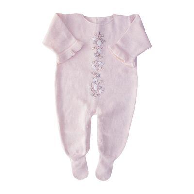 Macacão bebê flor central - Rosa bebê