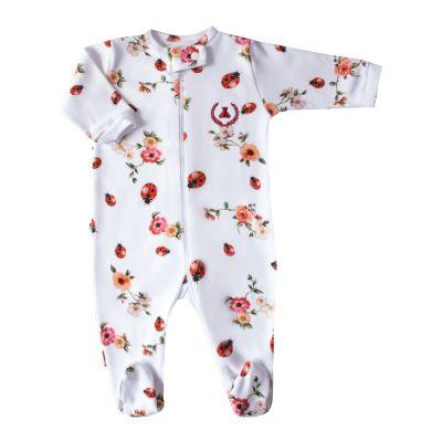 Macacão bebê floral com joaninha - Branco e floral