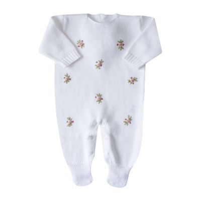 Macacão bebê flores rococó - Branco