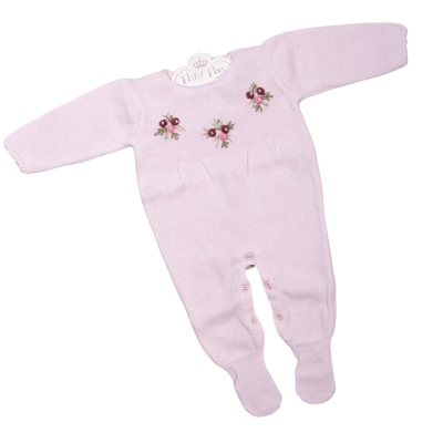 Macacão bebê flores rococó - Rosa bebê