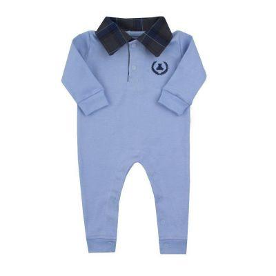 Macacão bebê gola polo - Azul bebê