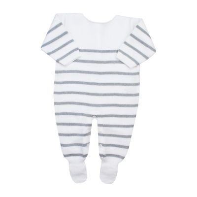 Macacão bebê listrado - Branco