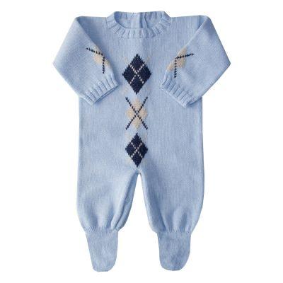 Macacão bebê losango - Azul bebê