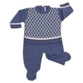 Macacão bebê losango e listras - Jeans