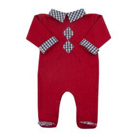 Macacão bebê losangos - Vermelho