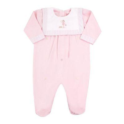 Macacão bebê manga longa com pé - Rosa bebê