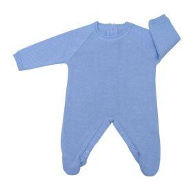 Macacão bebê masculino em tricot - Azul bebê