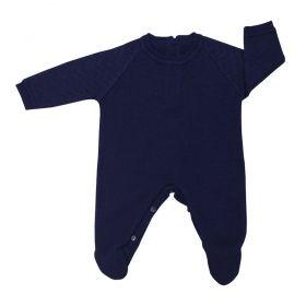 Macacão bebê masculino em tricot - Azul marinho