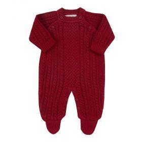 Macacão bebê masculino em tricot - Vermelho