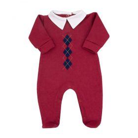 Macacão bebê masculino losango - Vermelho