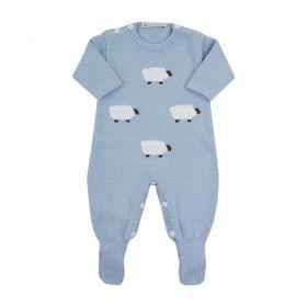 Macacão bebê ovelhinha - Azul bebê
