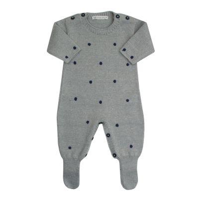 Macacão bebê poás - Cinza e azul marinho