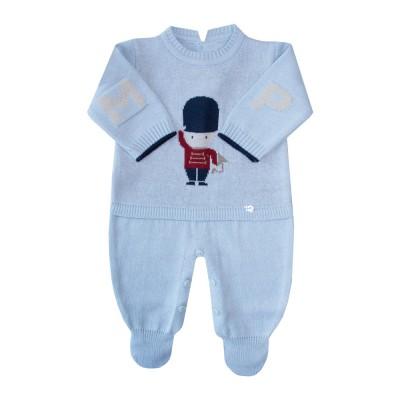 Macacão bebê soldadinho - Azul pó